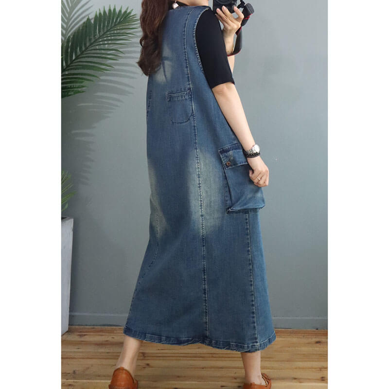 Women Denim Cotton Pocket Long Vest Dress