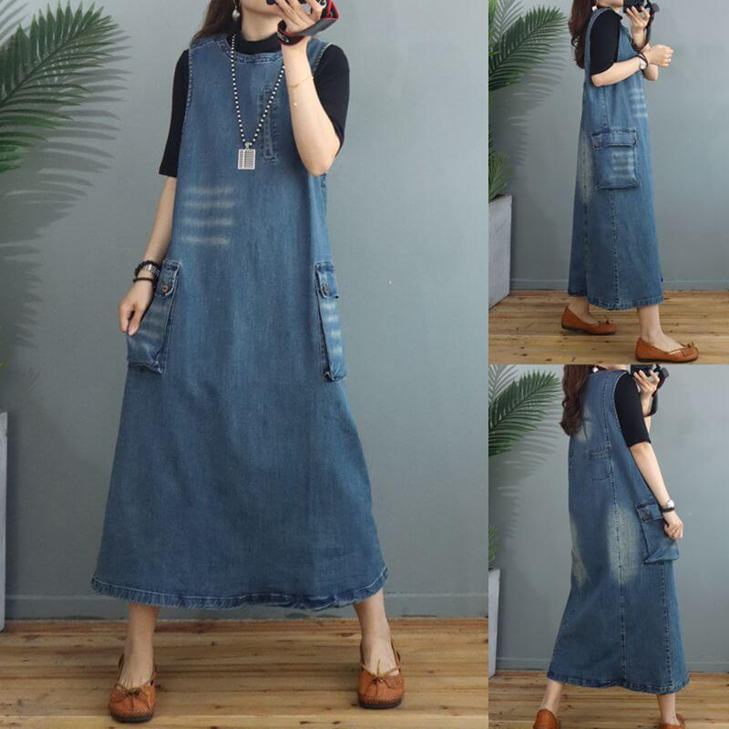 Women Denim Cotton Pocket Long Strap Dress