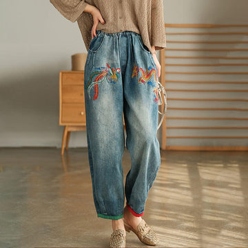 Women Denim Embroidered Casual Spring Harem Jeans