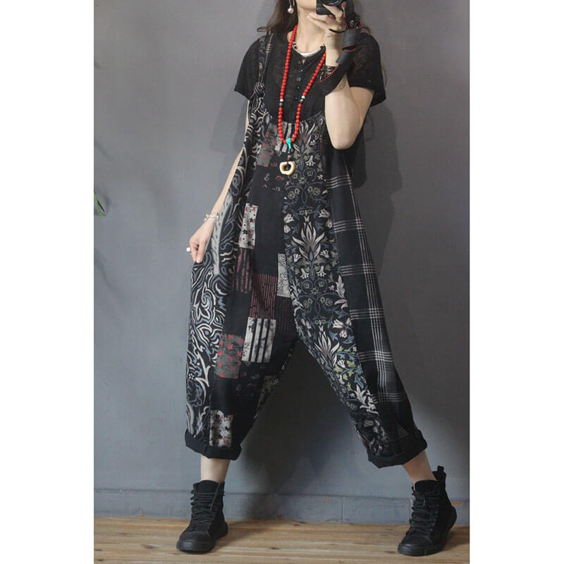 Women Denim Floral Plaid Pocket Jumpsuits Dungarees