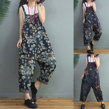 Women Denim Floral Print Pocket Jumpsuits Dungarees