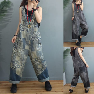 Women Denim Floral Stitching Jumpsuits Dungarees