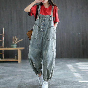 Women Denim Hole Solid Color Jumpsuits Dungarees