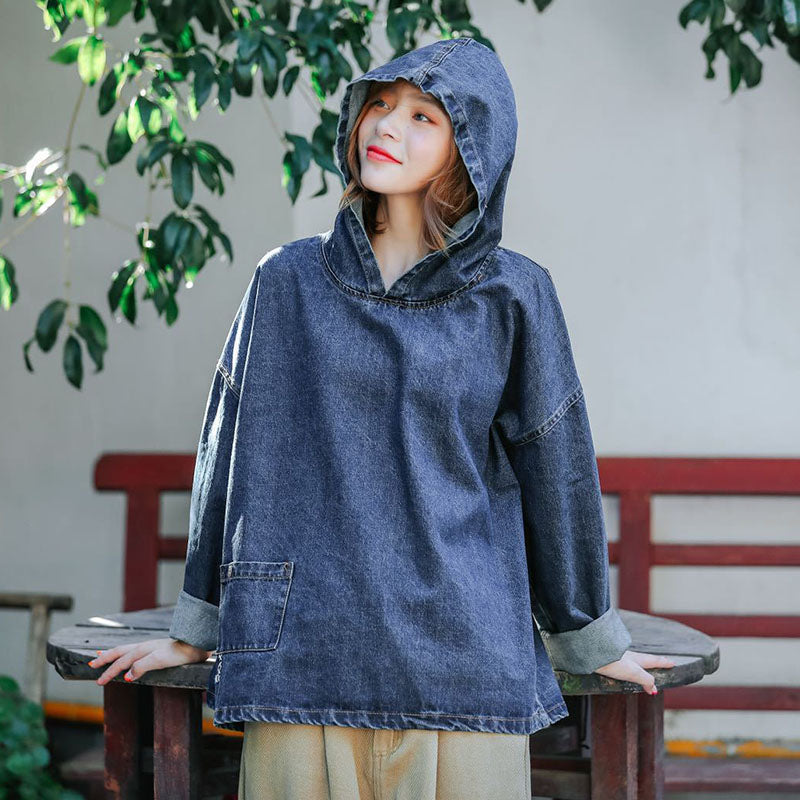 Women Denim Loose Hooded Blouse