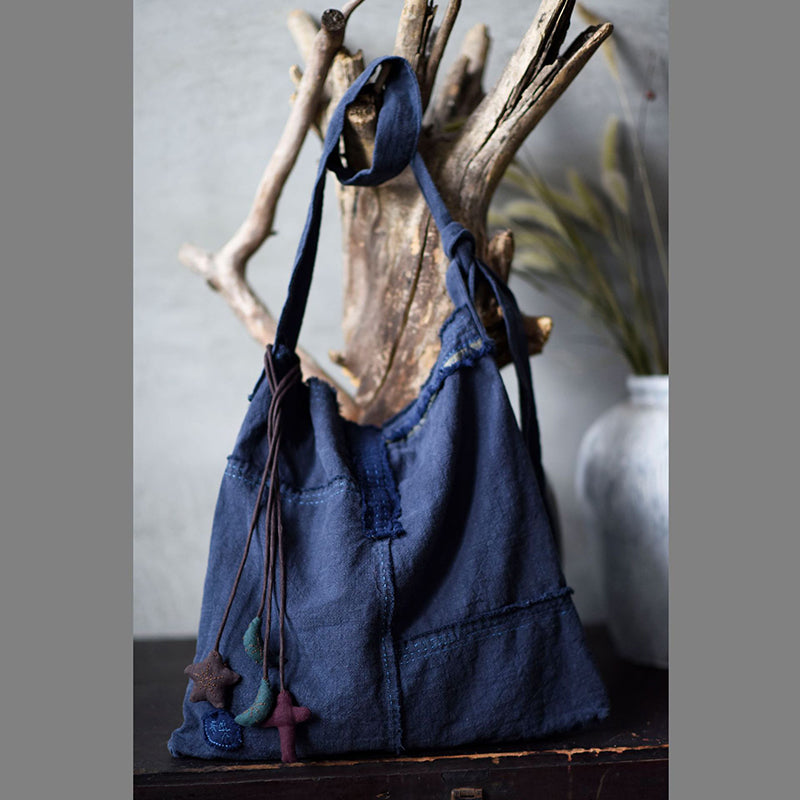 Women Distressed Linen Shoulder Bag