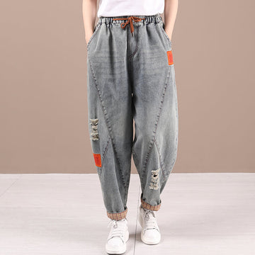 Women Drawstring Denim Summer Hole Harem Jeans