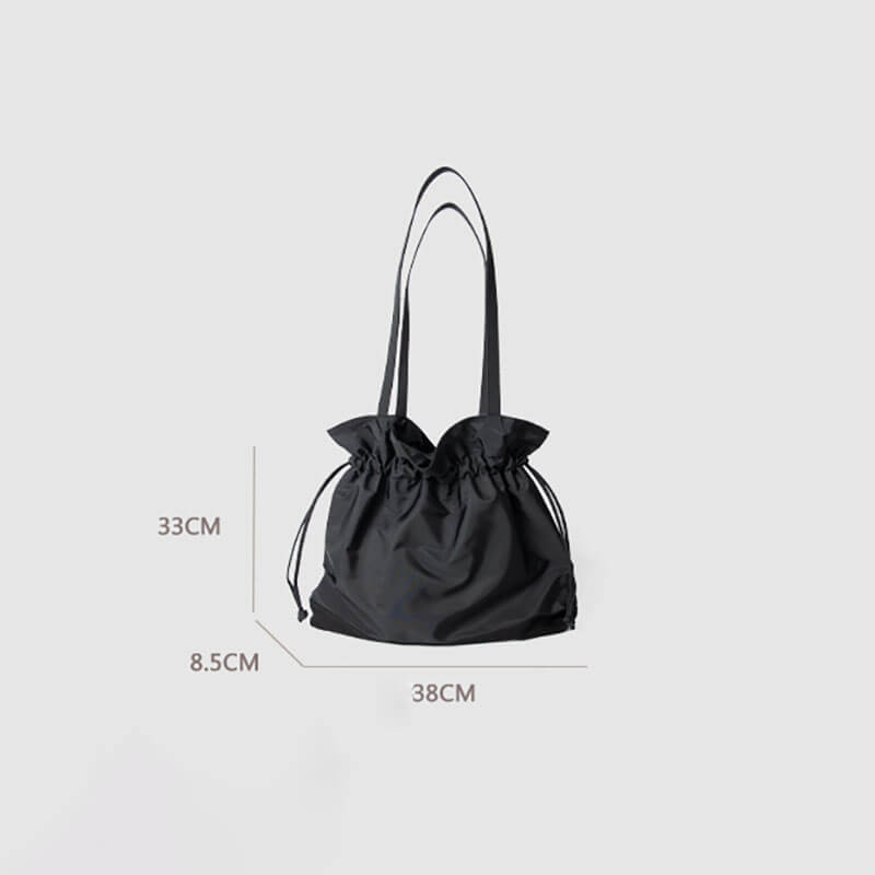Women Drawstring Pleated Shoulder Bucket Bag