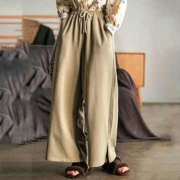 Women Drawstring Split Hem Pocket Straight Pants