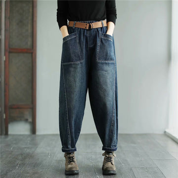 Women Elastic Waist Retro With Belt Jeans