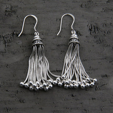Women Elegant Bell Tassel Silver Earrings