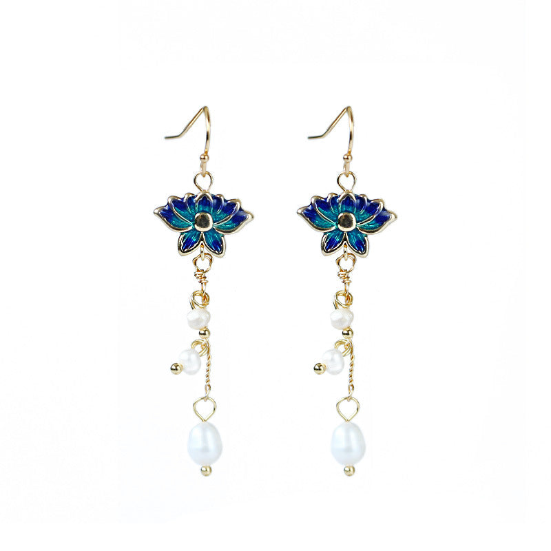 Women Elegant Cloisonne Pearl Drop Earrings