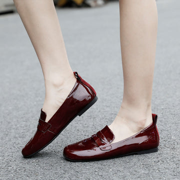 Women Elegant Leather Flat Casual Shoes