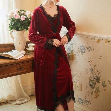 Women Elegant Nightdress Two Pieces Sets