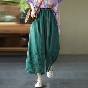 Women Embroidered Pure Color Casual Wide Leg Pants