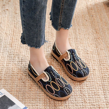 Women Embroidered Retro Weaving Shoes