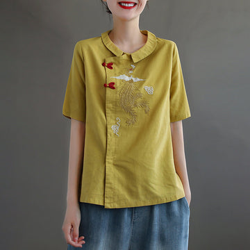 Women Embroidered Turn Down Collar Linen Retro T-shirt