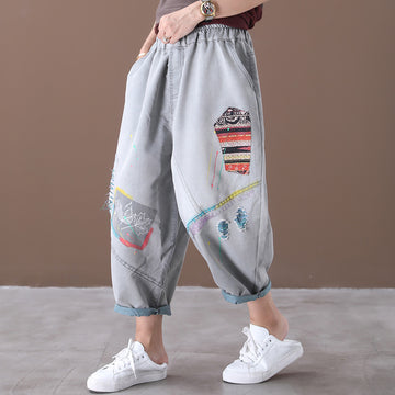 Women Embroidery Patchwork Distressed Pants