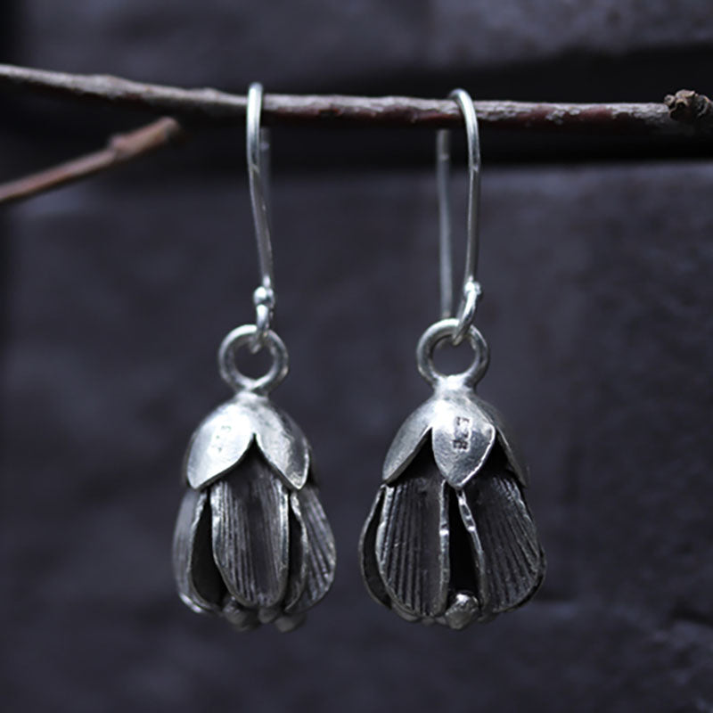 Women Fashion Flower Dangle Silver Earrings