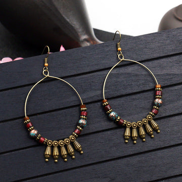 Women Fashion Retro Large Circle Earrings
