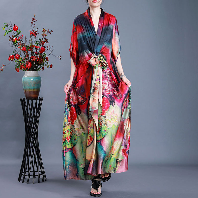 Women Fashion Silk Prints Lacing Maxi Dress