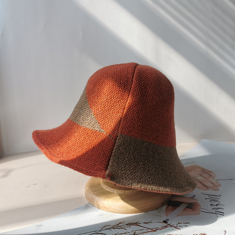 Women Felt Knitted Color Stitching Hat