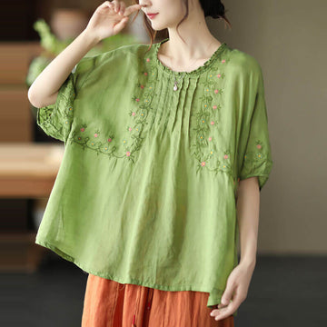 Women Floral Draped Ramie O-neck Embroidered Split T-shirt