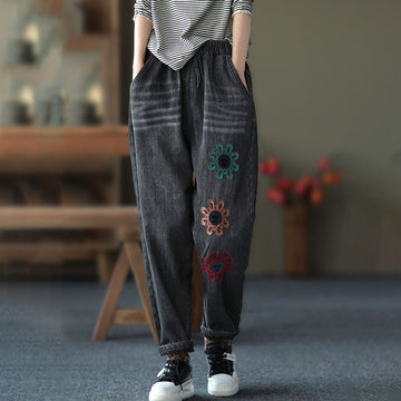 Women Floral Embroidered Drawstring Jeans