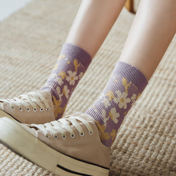 Women Floral Embroidered Print Socks(3 Pairs)