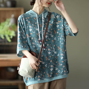 Women Floral Hooded Linen Drawstring Loose Casual T-shirt