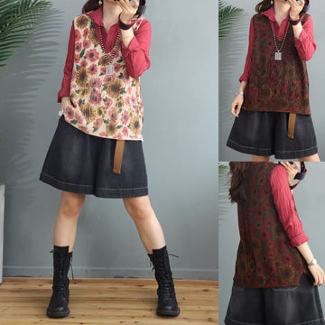 Women Floral Knitted Sweater Vest