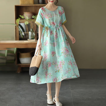 Women Floral O-neck Drawstring Ramie Casual Vintage Dress