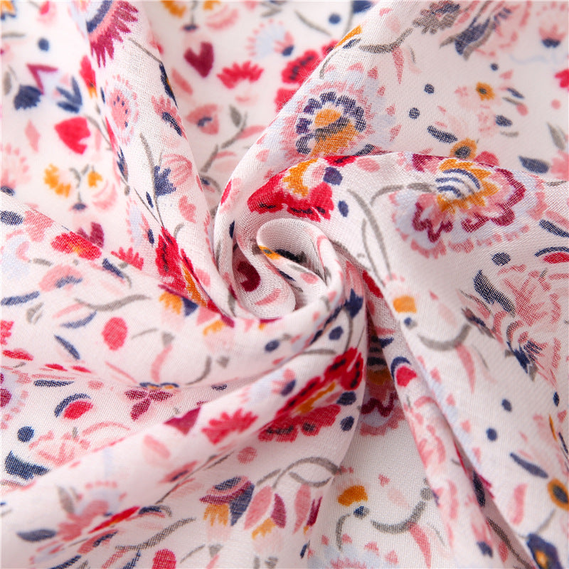 Women Floral Print Color Stitching Scarf