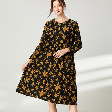 Women Floral Print Draped Pocket Dress