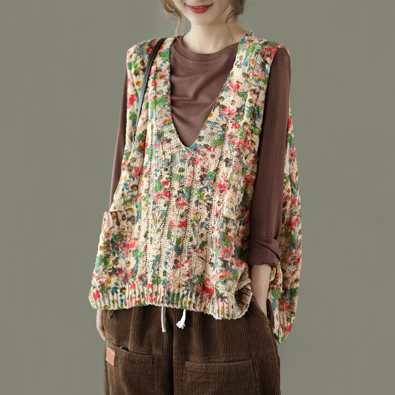 Women Floral Print Knitted Sleeveless Blouse