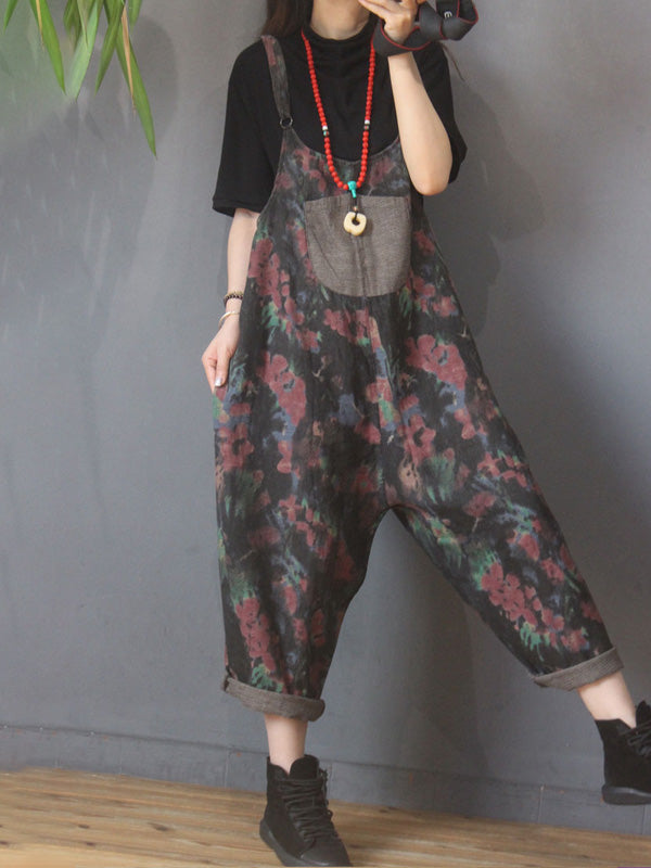 Women Floral Print Pocket Cotton Jumpsuits