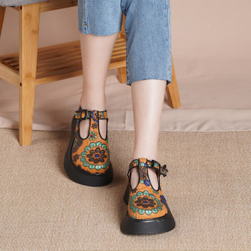 Women Floral Retro Leather Casual Summer Sandals