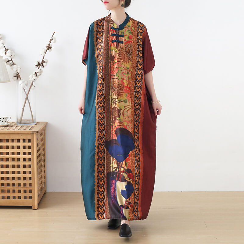 Women Floral Retro Summer Casual Long Dress