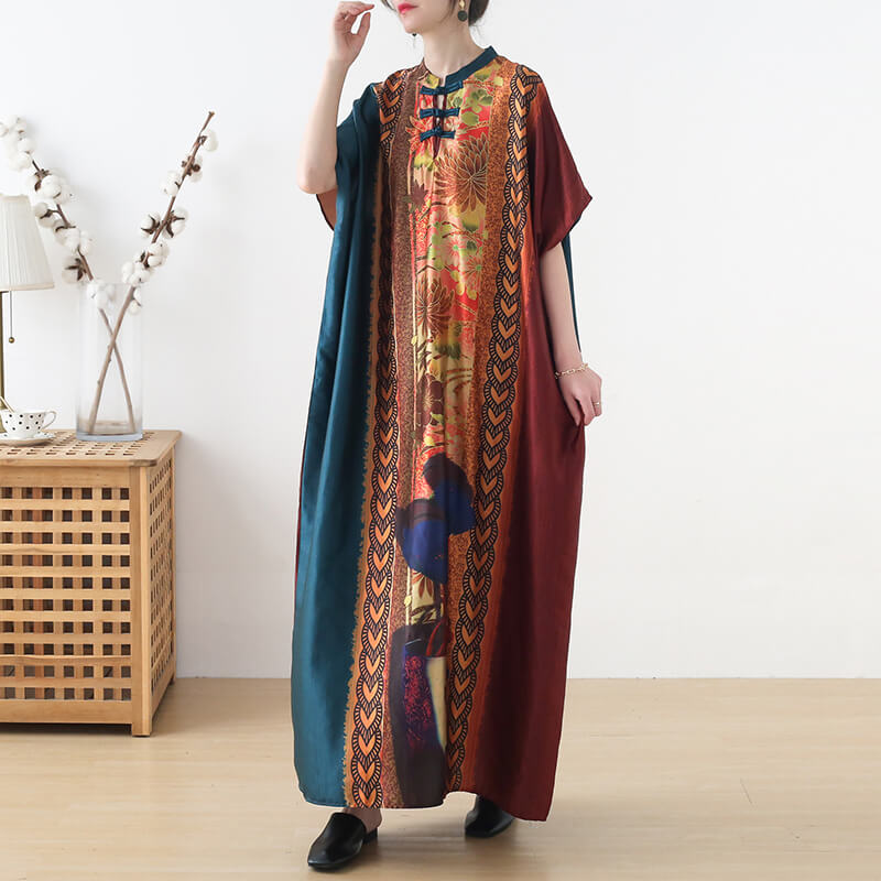 Women Floral Retro Summer Casual Maxi Dress