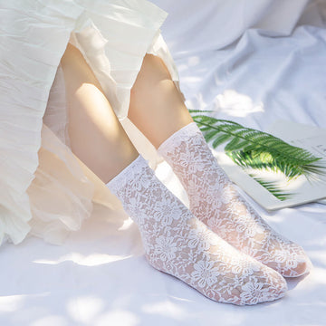 Women Floral Spring Summer Lace Thin Socks(5 Pairs)