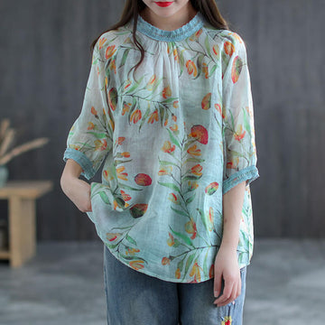 Women Floral Summer O-neck Casual Linen T-shirt