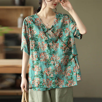 Women Floral Summer V-neck Casual Retro T-shirt