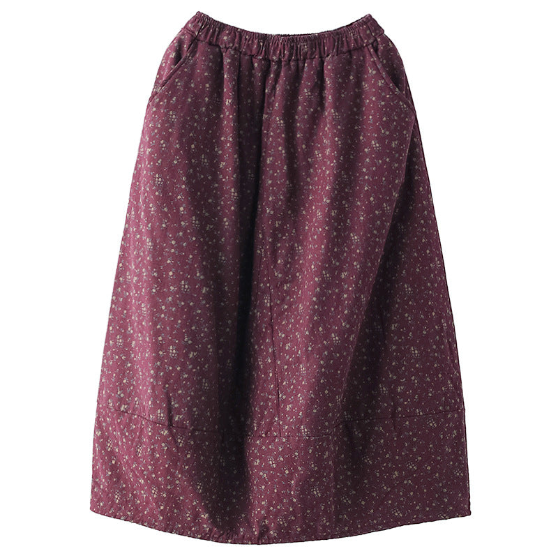 Women Floral Thick Warm Ramie Skirt