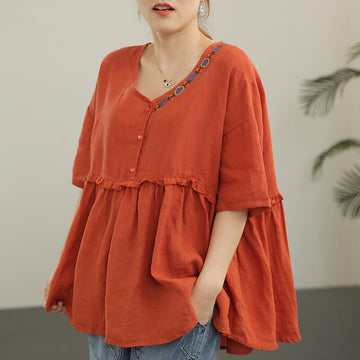 Women Floral V-neck Pleated Linen Embroidered Casual T-shirt