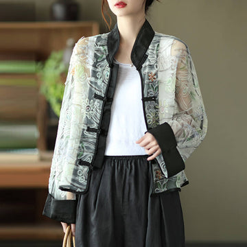 Women Floral Yarn Casual Breasted Vintage Thin Coat