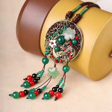 Women Flower Aventurine Dangle Sweater Necklace