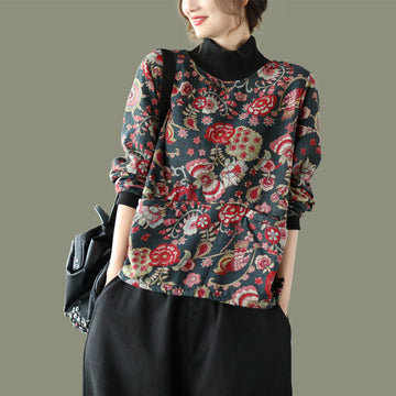 Women Flower Print Plus Plush Warm Blouse