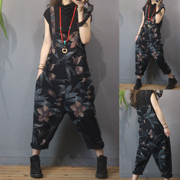 Women Flower Print Wild Denim Overalls
