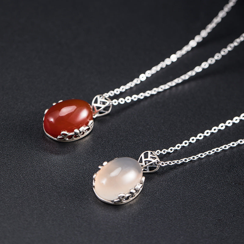 Women Gem Chalcedony Silver Necklace