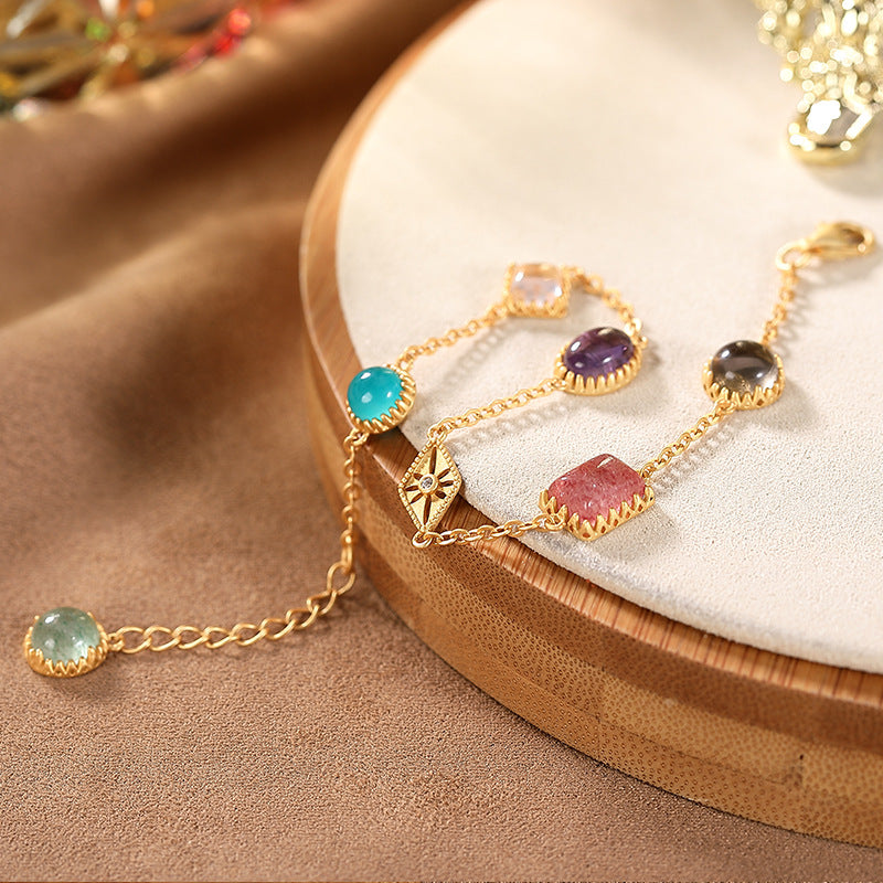 Women Gold-plated Gemstones Silver Bracelet