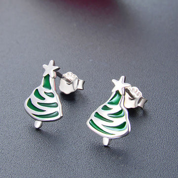 Women Green Christmas Tree Silver Ear Studs